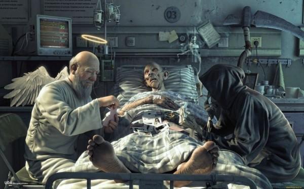 Врач и смерть играют в карты на животе умирающего пациента