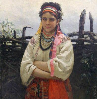 Репин. Украинка у плетня.