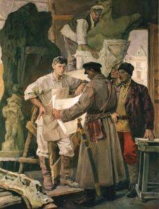 І.Кавалерідзе за роботою над монументом жертв революції