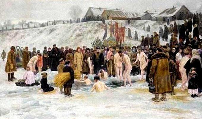 """Николай Грандковский """"Купание после освящения воды шестого января"""". 1903 год."""