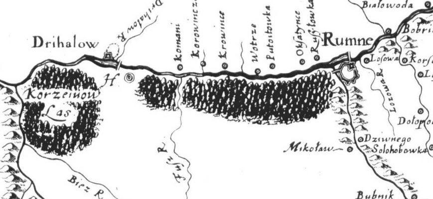 Ромен та Недригайлів на карті Боплана