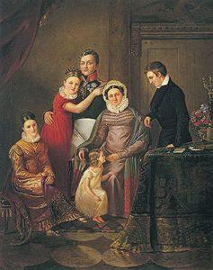 Родинний портрет Рєпніних-Волконських. (Варвара сидить зліва) Невідомий художник. Перша половина XIX ст. Джерело: Державний Ермітаж, 2011 р.