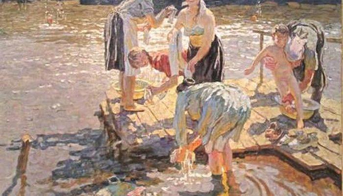 Полоскання білизни на річці