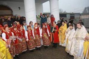 Самодіяльний ансамбль «Андріївська родина» під час освячення храму