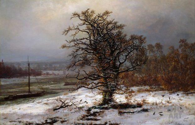 Картина Дуб у реки Эльба зимой Юхана Даля