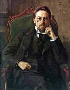 Фотореродукція із портрета А.П. Чехова, виконананого Осипом Бразом 1898 року (який, до речі, не дуже йому подобався).