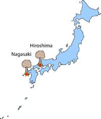 Хіросима і Нагасакі на мапі Японії Електронне зображення із: ttps://ru.wikipedia.org/wiki [21].